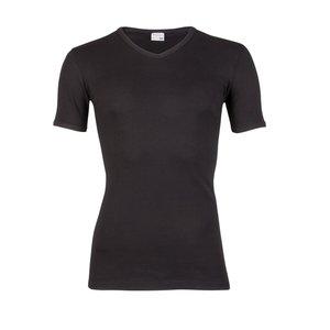 Heren T-shirt met V-hals en korte mouw Zwart