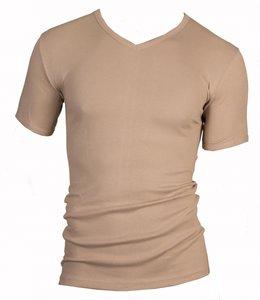 Heren T-shirt met V-hals en korte mouw Beige